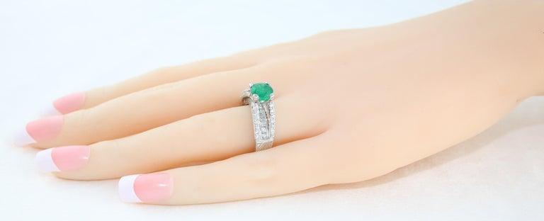 AGL Certified 1.30 Carat Emerald Diamond Gold Milgrain Filigree Ring For Sale 1