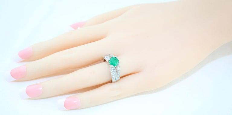 AGL Certified 1.30 Carat Emerald Diamond Gold Milgrain Filigree Ring For Sale 2