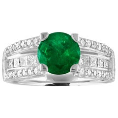 AGL Certified 1.30 Carat Emerald Diamond Gold Milgrain Filigree Ring