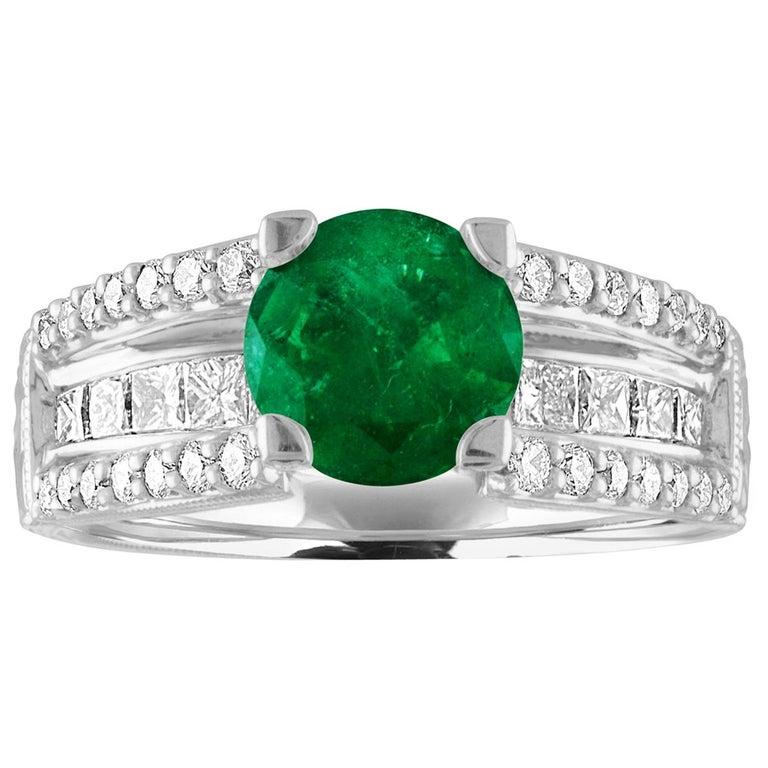 AGL Certified 1.30 Carat Emerald Diamond Gold Milgrain Filigree Ring For Sale