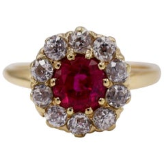 AGL Certified 1.32 Carat Natural Burmese Ruby Diamond Cocktail Ring