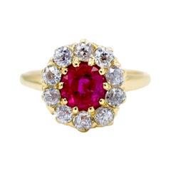 AGL Certified 1.32 Carat Natural Burmese Ruby Diamond Cocktail Ring