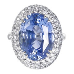 AGL Certified 13.71 Carat Blue Oval Sapphire and Diamond Cocktail Ring