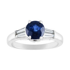 AGL Certified 1.41 Carat Round Blue Sapphire Diamond Platinum Ring