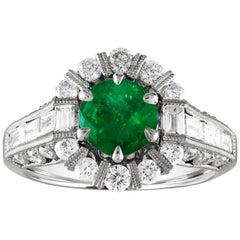 AGL Certified 1.48 Carat Round Emerald Diamond Gold Milgrain Ring