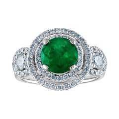 AGL Certified 1.51 Carat Round Emerald Diamond Gold Ring