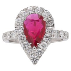 AGL Certified 1.52ct Ruby and Diamond Ring