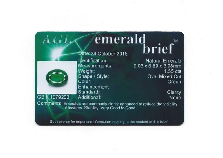 AGL Certified 1.55 Carat Oval Emerald Three-Stone Diamond Gold Ring For Sale 5