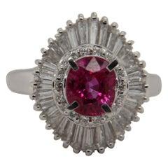 AGL Certified 1.56 Carat Burma Ruby No Heat and Diamond Ring in PT900 Platinum