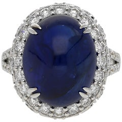 AGL Certified 16.68 carat Cabuchon-Cut Ceylon Sapphire and Diamond Ring