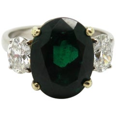 AGL Certified 18 Karat Gold and Platinum 3.77 Carat Oval Zambian Emerald Ring