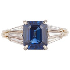AGL Certified 18 Karat Yellow and White Gold Sapphire and Diamond Ring