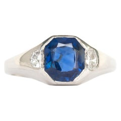 AGL Certified 1.86 Carat Sapphire Platinum Engagement Ring