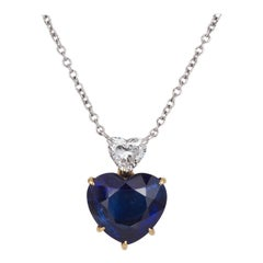 AGL Certified 18k Yellow & White Gold Sabbadini Sapphire Diamond Heart Pendant