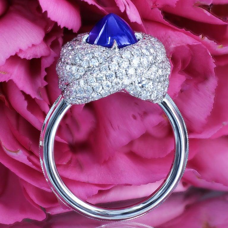 AGL Certified 1.96 Carat Kashmir Sapphire Platinum Diamond Micro Pave Ring For Sale 2