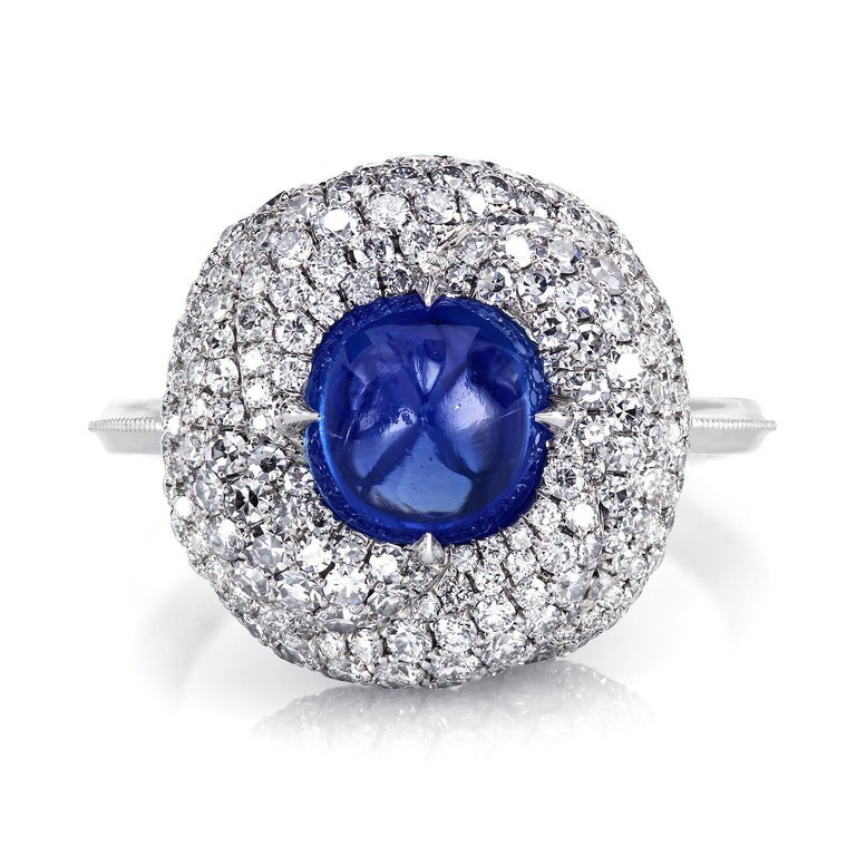 Artist AGL Certified 1.96 Carat Kashmir Sapphire Platinum Diamond Micro Pave Ring For Sale