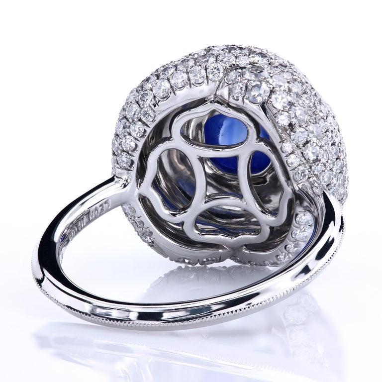 Cushion Cut AGL Certified 1.96 Carat Kashmir Sapphire Platinum Diamond Micro Pave Ring For Sale
