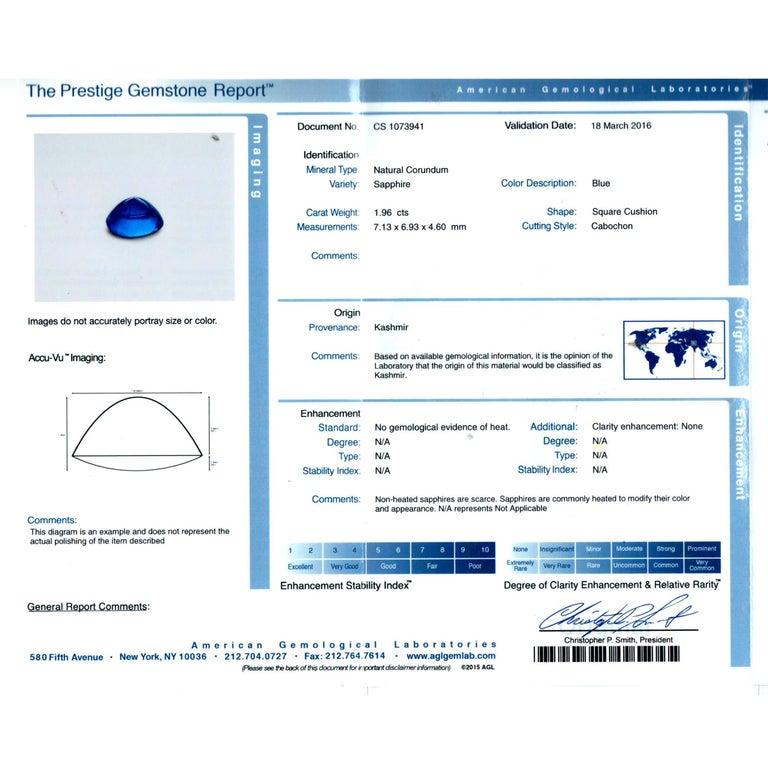 Women's AGL Certified 1.96 Carat Kashmir Sapphire Platinum Diamond Micro Pave Ring For Sale
