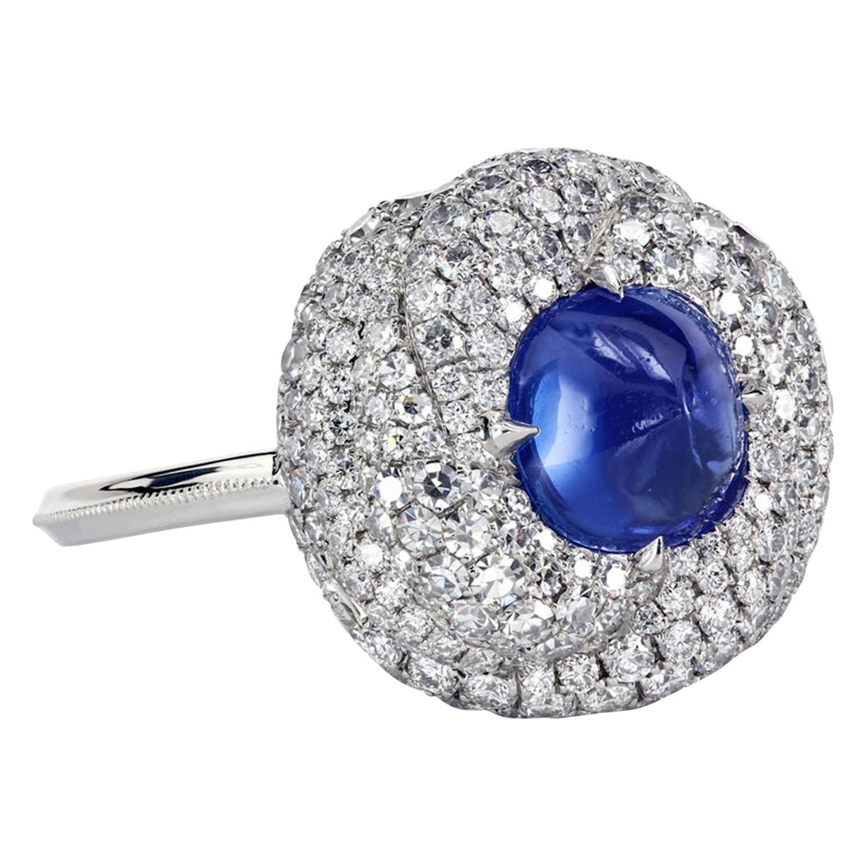 AGL Certified 1.96 Carat Kashmir Sapphire Platinum Diamond Micro Pave Ring