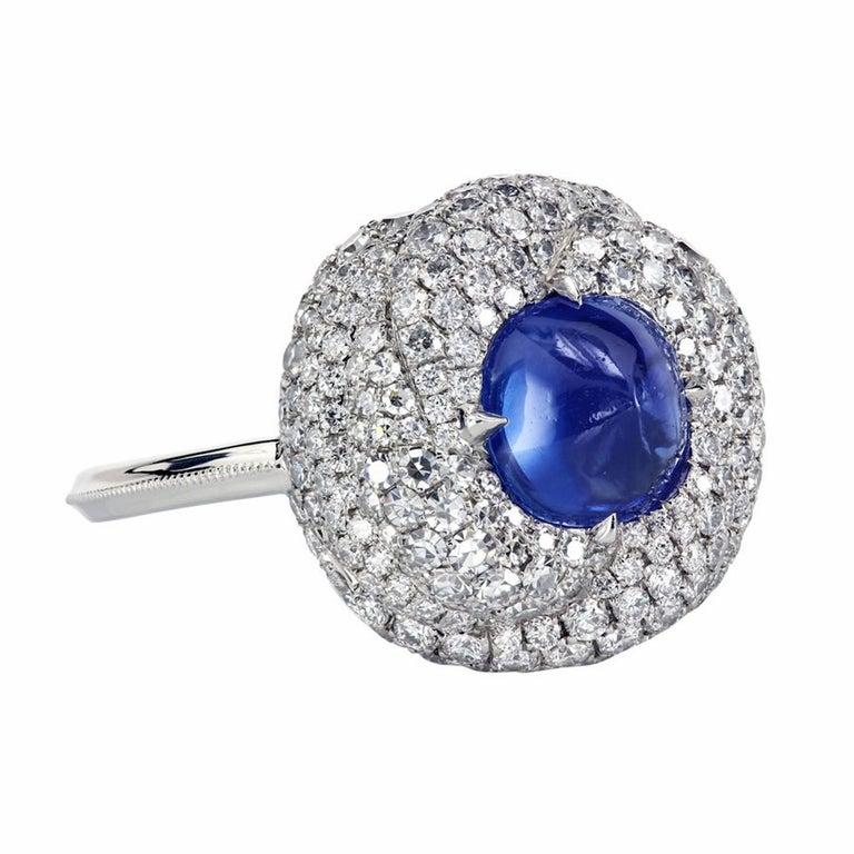 AGL Certified 1.96 Carat Kashmir Sapphire Platinum Diamond Micro Pave Ring For Sale