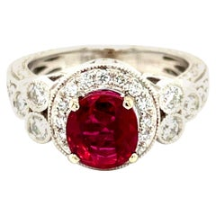 AGL Certified 2.02 Carat Ruby and Diamond Ring