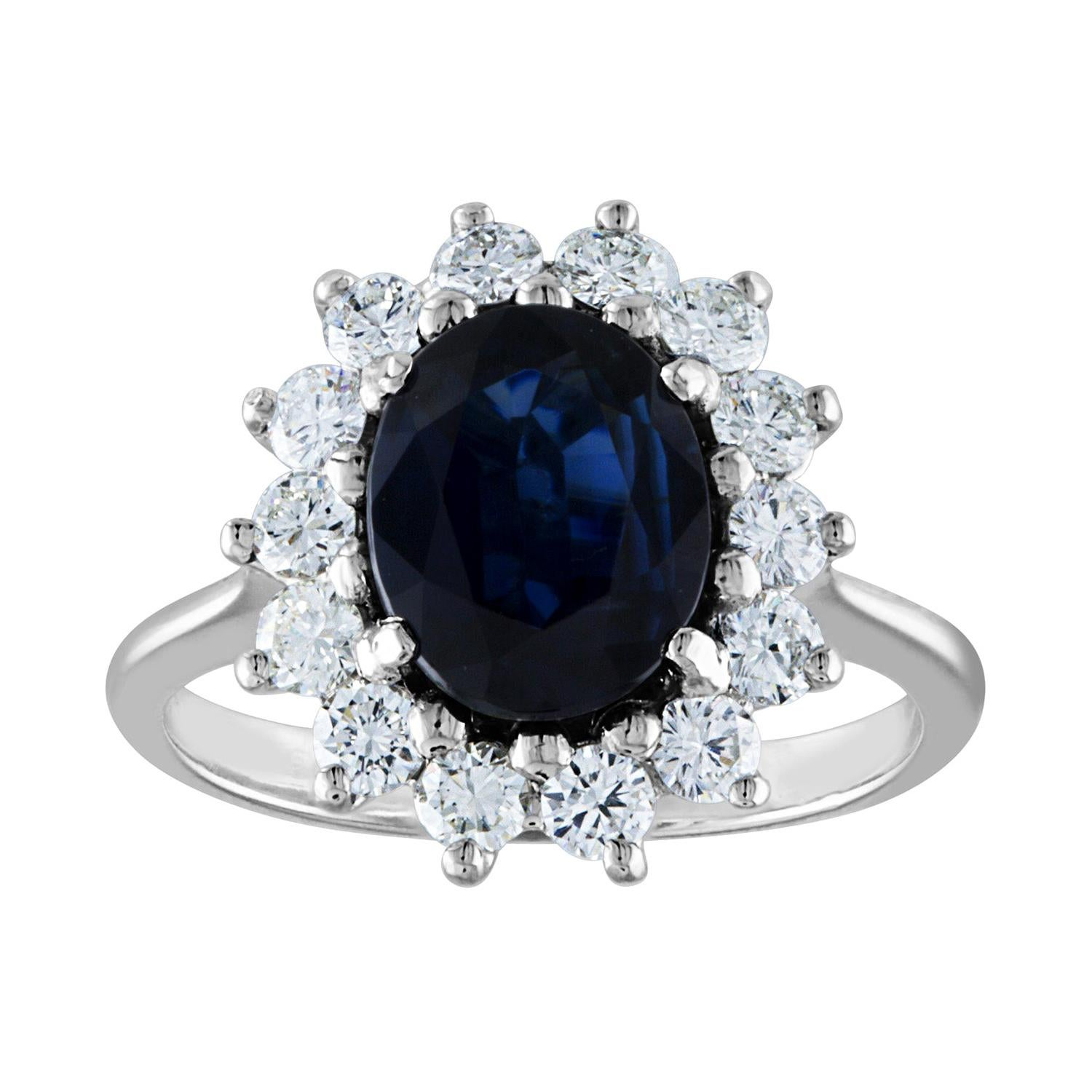 AGL Certified 2.05 Carat No Heat Oval Blue Sapphire and Diamond Gold Ring