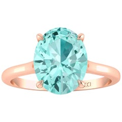 AGL Certified 2.11 Carat Paraiba Tourmaline 18 Karat Rose Gold Ring
