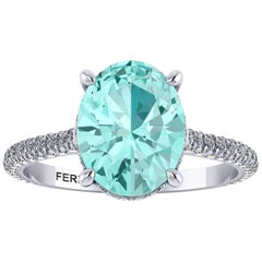 AGL Certified 2.11 Carat Paraiba Tourmaline Diamonds in Platinum Ring