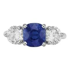 AGL Certified 2.23 Carat Kashmir Sapphire Diamond Ring