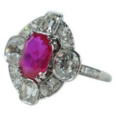 AGL Certified 2.25 Carat Un-Heated Burmese Ruby with Old-Cut Diamonds