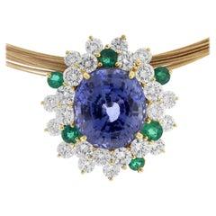 AGL Certified 23.26 Violet Blue Green Sapphire Diamond 18K Gold Pendant Necklace