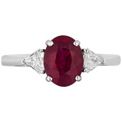 AGL Certified 2.34 Carat Burma Ruby Diamond Three-Stone Ring