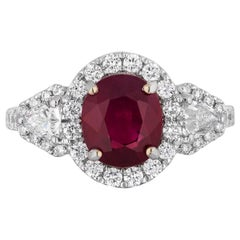 AGL Certified 2.36 Carat Burma Ruby Diamond Cocktail Ring