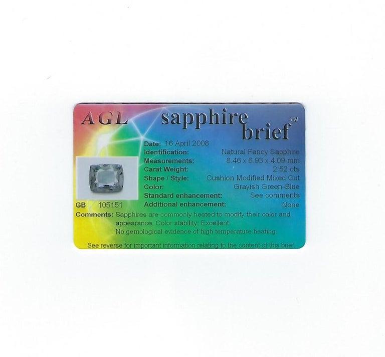 AGL Certified 2.52 Carat Cushion Grayish Green-Blue Sapphire Diamond Gold Ring For Sale 4