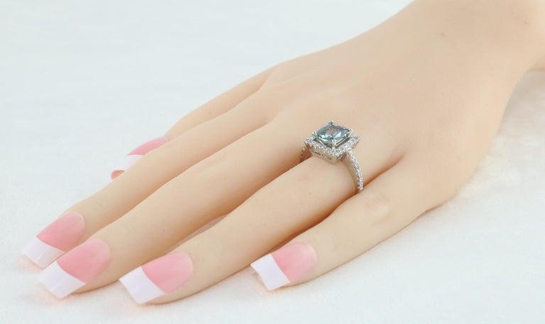 Women's AGL Certified 2.52 Carat Cushion Grayish Green-Blue Sapphire Diamond Gold Ring For Sale