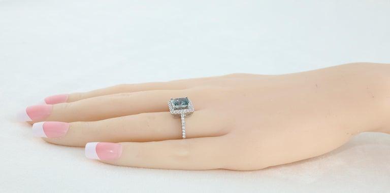 AGL Certified 2.52 Carat Cushion Grayish Green-Blue Sapphire Diamond Gold Ring For Sale 1