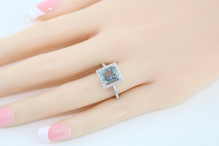 AGL Certified 2.52 Carat Cushion Grayish Green-Blue Sapphire Diamond Gold Ring For Sale 2