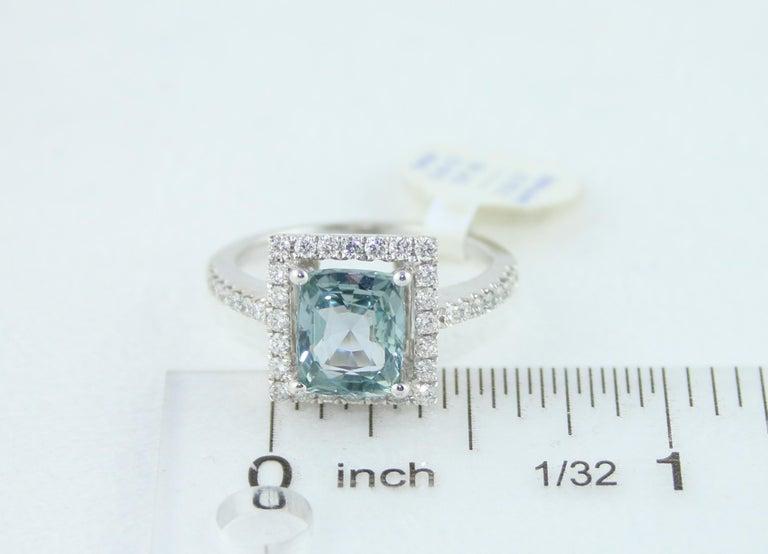 AGL Certified 2.52 Carat Cushion Grayish Green-Blue Sapphire Diamond Gold Ring For Sale 3