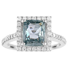 AGL Certified 2.52 Carat Cushion Grayish Green-Blue Sapphire Diamond Gold Ring