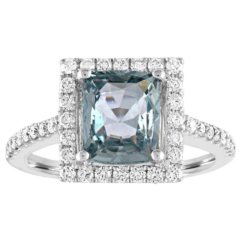 AGL Certified 2.52 Carat Cushion Grayish Green-Blue Sapphire Diamond Gold Ring For Sale