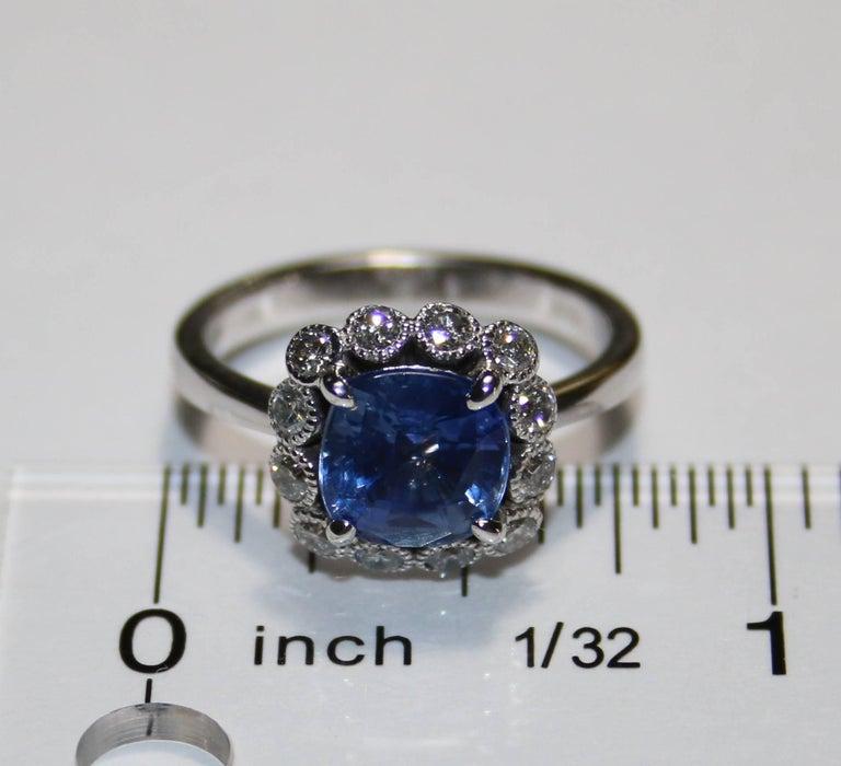 Women's AGL Certified 2.59 Carat No Heat Violet Blue Sapphire Diamond Gold Ring For Sale