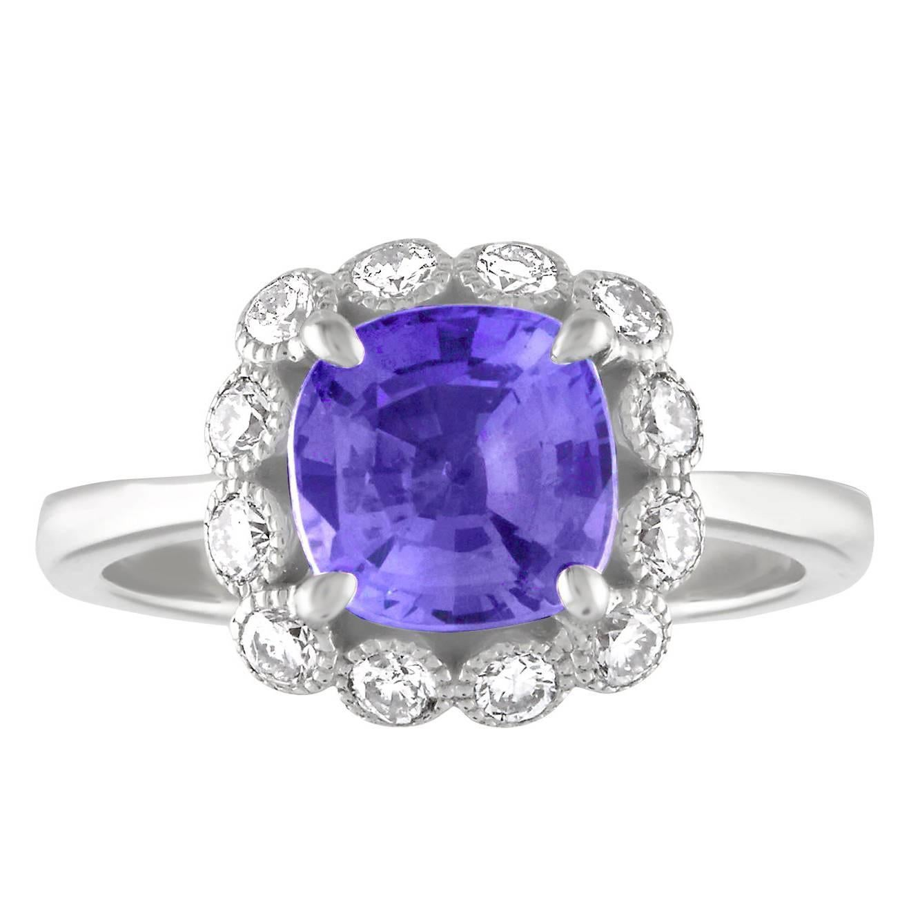 AGL Certified 2.59 Carat No Heat Violet Blue Sapphire Diamond Gold Ring