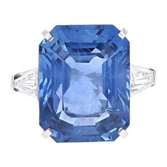 AGL Certified, 25.97 Carat Ceylon No Heat Sapphire Cocktail Platinum Ring