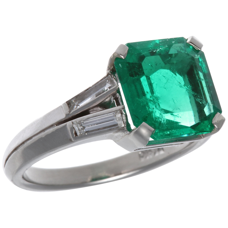 AGL Certified 2.60 Carat Columbian Emerald Gubelin Platinum Ring