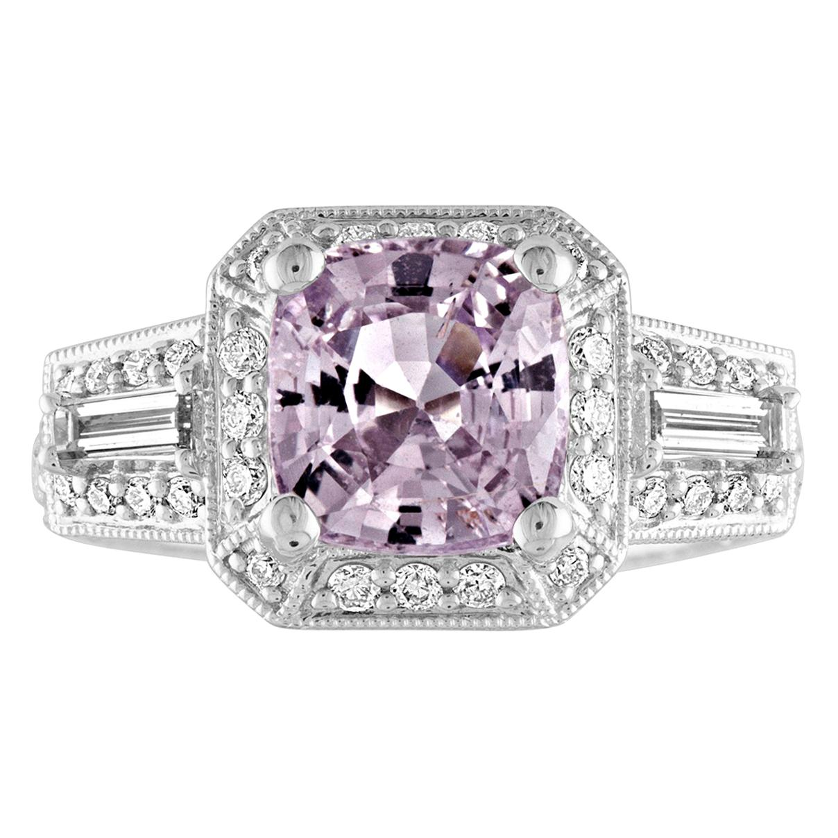 AGL Certified 2.63 Carat No Heat Grayish Purple Sapphire Diamond Gold Ring