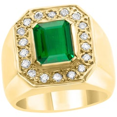 AGL Certified 2.75 Carat  Emerald Cut Colombian Emerald  Diamond 18 K Men Ring
