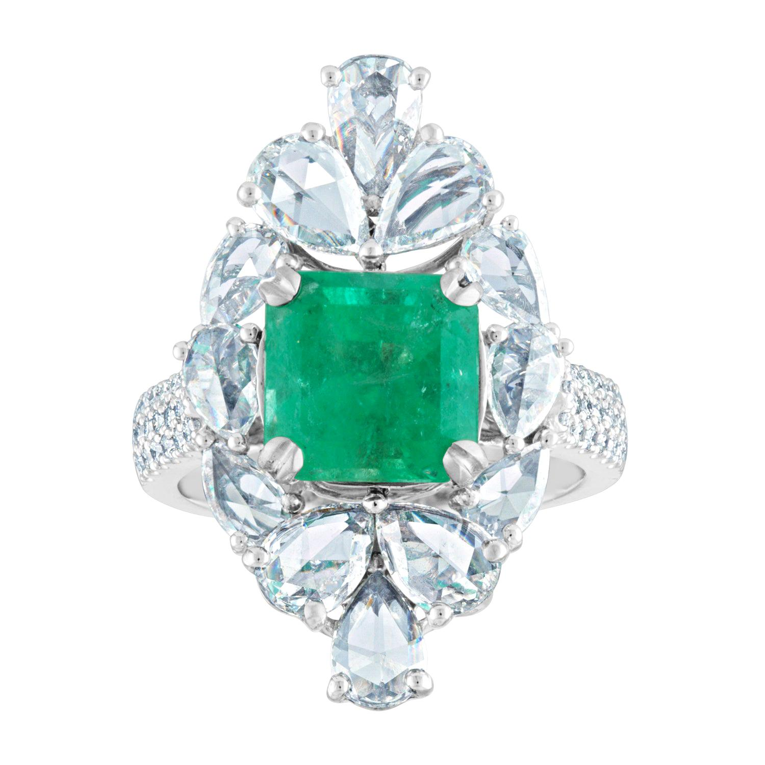 AGL Certified 2.99 Carat Emerald and Diamond Gold Ring