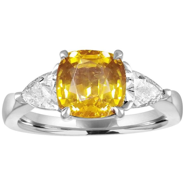 AGL Certified 3.16 Carat Cushion Orange Yellow Sapphire Diamond Gold Ring For Sale