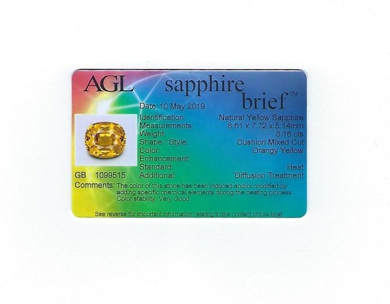 AGL Certified 3.16 Carat Cushion Orange Yellow Sapphire Diamond Gold Ring For Sale 4