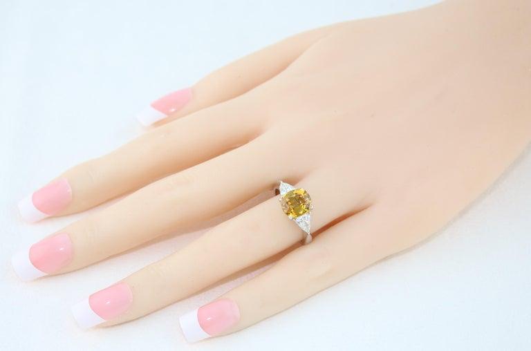 Cushion Cut AGL Certified 3.16 Carat Cushion Orange Yellow Sapphire Diamond Gold Ring For Sale